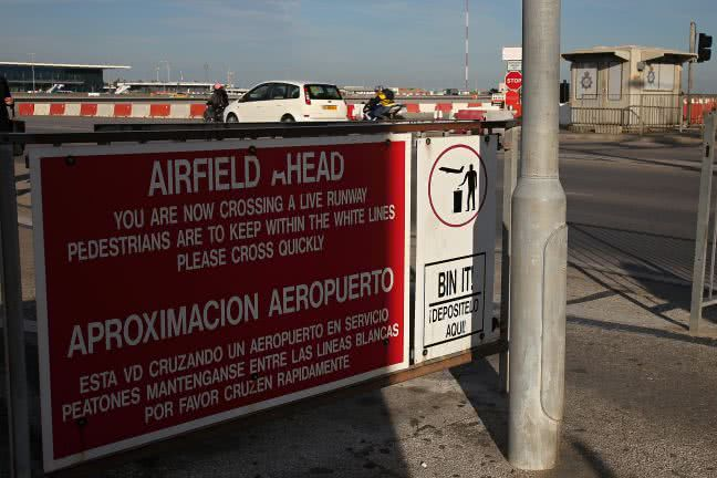 Airfield ahead sign in Gibraltar - free stock photo