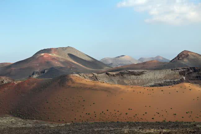 Crater of a volcano in Timanfaya National Park - free stock photo