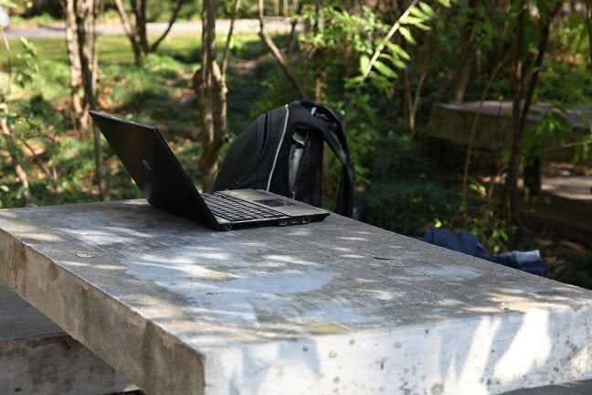 Laptop in a park - free stock photo