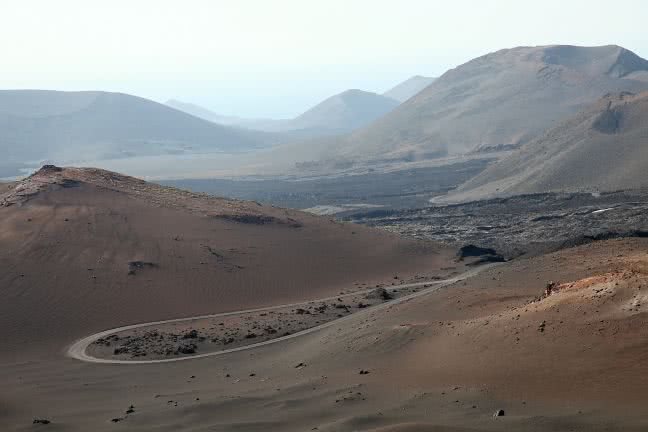 Road in the Timanfaya dessert - free stock photo
