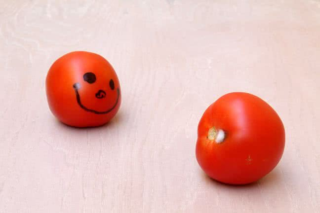 Smiley made from a tomato - free stock photo