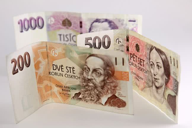 Three Czech crowns notes - free stock photo