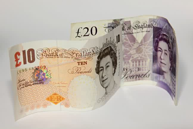 Two British pound banknotes - free stock photo
